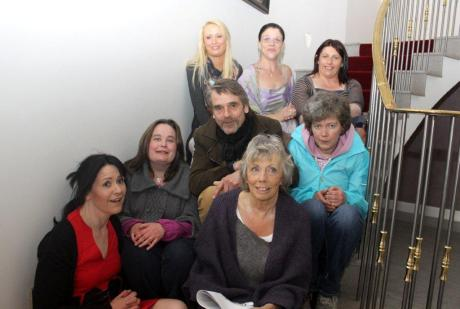 Jeremy Irons, with Joan Hamilton, Tenants & Staff on the stairs at Charleville Park Hotel. August 2011 – introduction to Another Way Home