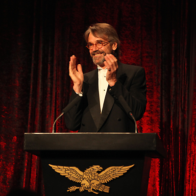 Jeremy Irons moderates the Golden Plate Awards ceremonies at the 2009 International Achievement Summit in Cape Town, South Africa.