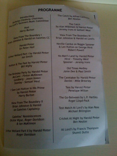 Programme from the evening's events from cricketwife.com