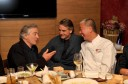 U.S. actor Robert De Niro talks with British actor Irons and Japanese chef Matsuhisa during the official opening of Nobu restaurant in Budapest