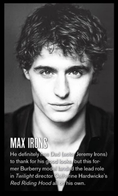 Max Irons in V Magazin... Amanda Seyfried Website