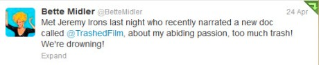 Bette Midler Tweet about Jeremy