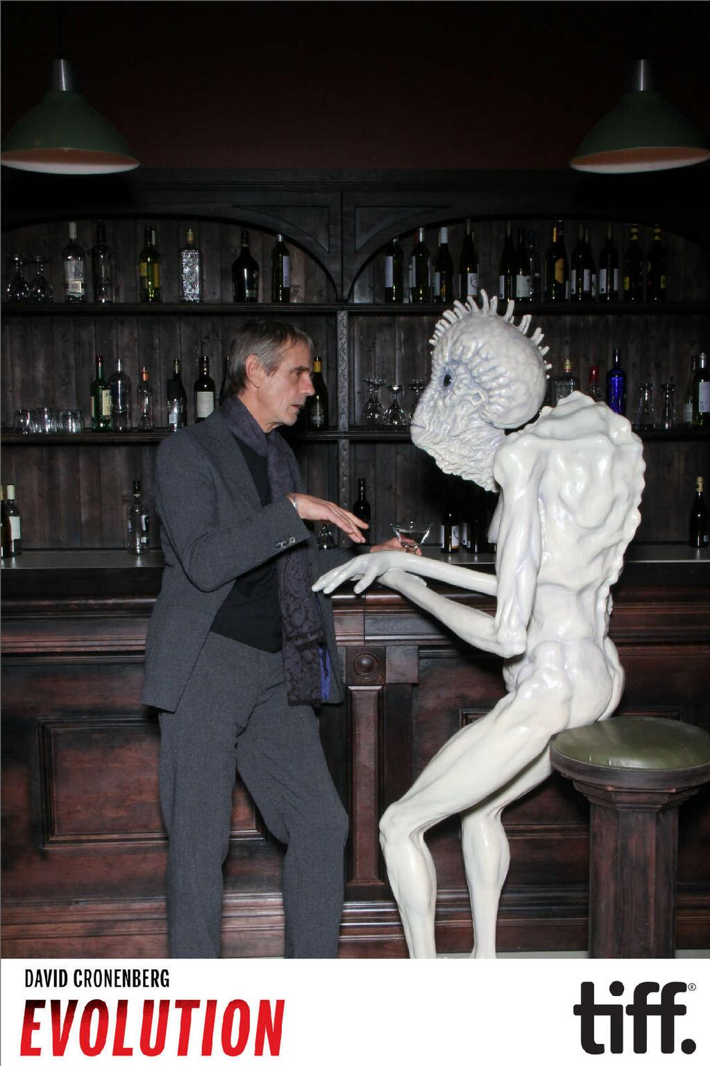 Noah Cowan @noahlightbox  Jeremy Irons and the mugwump share a drink and a laugh. David Cronenberg : Evolution is now officially open!