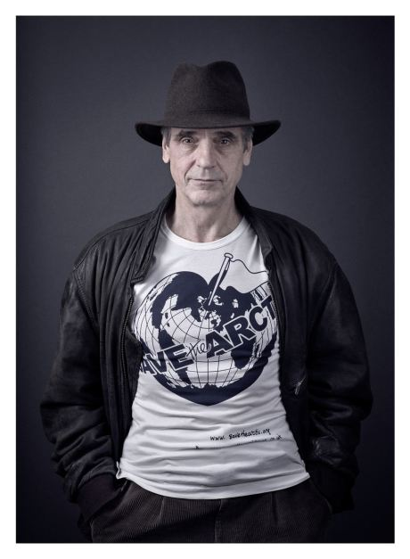 Jeremy Irons models the Save The Arctic t-shirt designed by fashion icon and activist Dame Vivienne Westwood during a photoshoot with celebrity photographer Andy Gotts MBE.