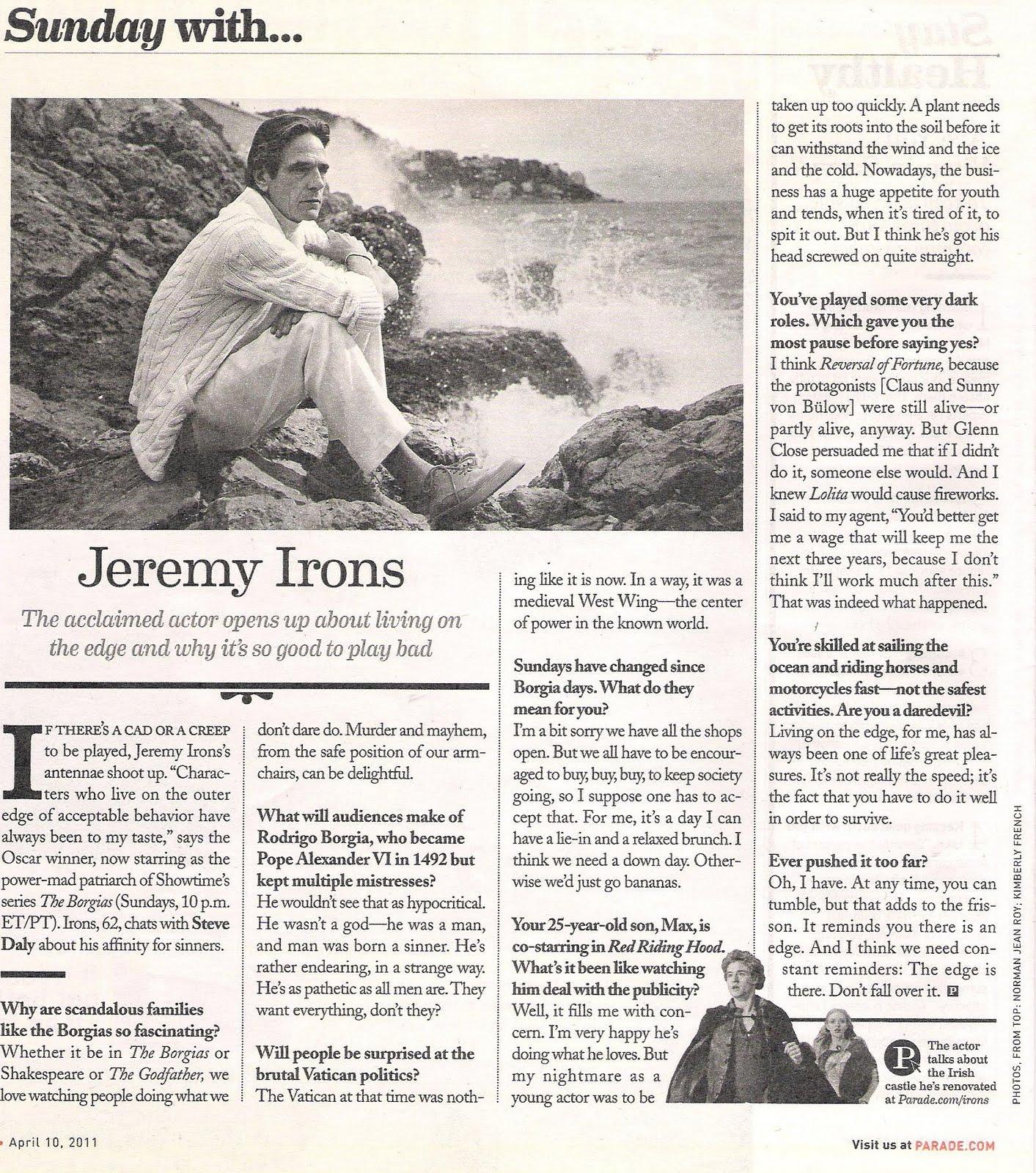 Jeremy Irons in Parade Magazine | jeremyirons net