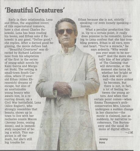 Wall Street Journal Review of Beautiful Creatures
