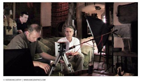 "From 2011 - Kieran McCarthy and Michael Twomey (Complete Control Films) preparing to film an interview and narration with actor Jeremy Irons for their documentary ""Another Way Home"""