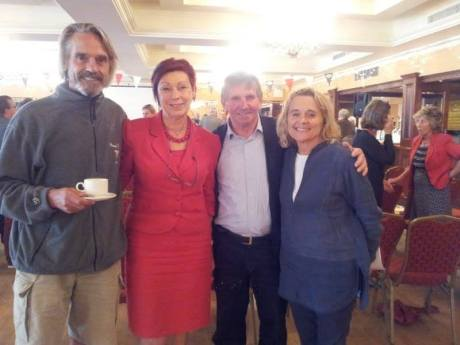 Jeremy Irons, Helen Collins, John Field and Sinead Cusack at the Belling Forum at the West Cork Hotel on Saturday afternoon. Photo via A Taste of West Cork on Facebook