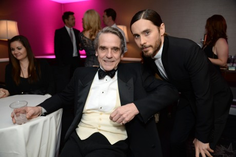 Jeremy Irons and Jared Leto inside at the 25th annual Producers Guild of America (PGA) Awards at the Beverly Hilton Hotel on Sunday, Jan. 19, 2014, in Beverly Hills, Calif. (Photo by Jordan Strauss/Invision for Producers Guild/AP Images)