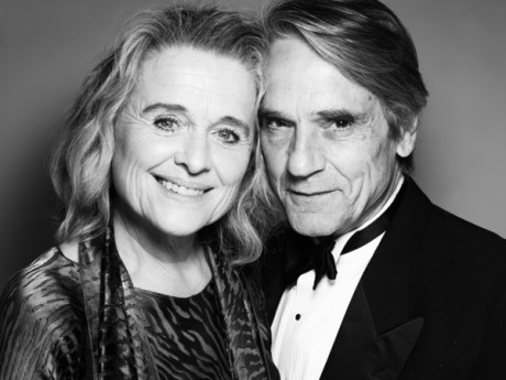 In this handout image provided by Rankin for The Old Vic, Sinead Cusack (L) and Jeremy Irons pose backstage at The Old Vic's A Gala Celebration in Honour of Kevin Spacey at The Old Vic Theatre on April 19, 2015 in London, England.