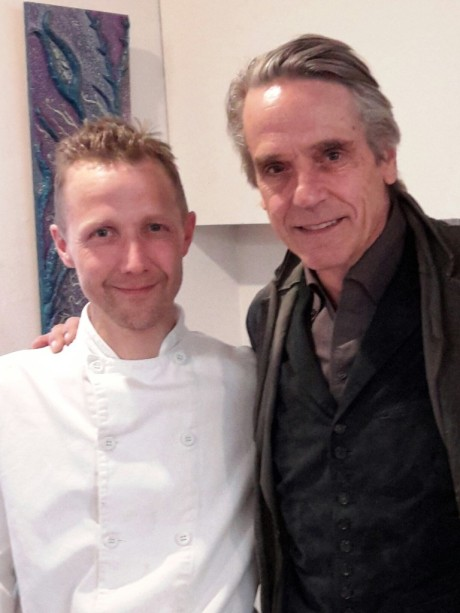 Jeremy Irons with Chef Nic Allan from the Star Anise Cafe in Stroud