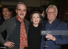 "LONDON, ENGLAND - FEBRUARY 06: (L to R) Jeremy Irons, Lesley Manville and Sir Richard Eyre attend the press night after party of ""Long Day's Journey Into Night"" at Browns on February 6, 2018 in London, England. (Photo by David M. Benett/Dave Benett/Getty Images)"
