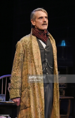 "LONDON, ENGLAND - FEBRUARY 06: Cast members Jeremy Irons (L) and Lesley Manville bow at the curtain call during the press night performance of ""Long Day's Journey Into Night"" at Wyndhams Theatre on February 6, 2018 in London, England. (Photo by David M. Benett/Dave Benett/Getty Images)"