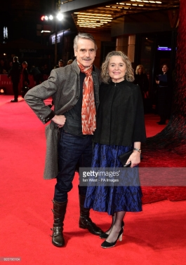 Jeremy Irons (left) and Sinead Cusack attending the Red Sparrow European Premiere at Vue Cinema West End, London. PRESS ASSOCIATION Photo. Picture date: Monday February 19, 2018. See PA story SHOWBIZ Red Sparrow. Photo credit should read: Ian West/PA Wire