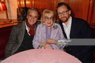 "LONDON, ENGLAND - OCTOBER 10: (L to R) Jeremy Irons, Lady Antonia Fraser and Tom Hiddleston attend an after party for ""Happy Birthday, Harold"", a charity gala celebrating the life and work of Harold Pinter and the press night performance of ""Pinter At The Pinter"", at Brasserie Zedel on October 10, 2018 in London, England. (Photo by David M. Benett/Dave Benett/Getty Images)"