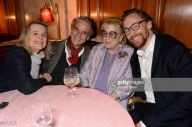 "LONDON, ENGLAND - OCTOBER 10: (L to R) Sinead Cusack, Jeremy Irons, Lady Antonia Fraser and Tom Hiddleston attend an after party for ""Happy Birthday, Harold"", a charity gala celebrating the life and work of Harold Pinter and the press night performance of ""Pinter At The Pinter"", at Brasserie Zedel on October 10, 2018 in London, England. (Photo by David M. Benett/Dave Benett/Getty Images)"