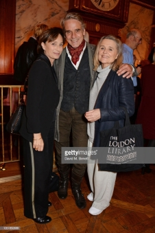 "LONDON, ENGLAND - OCTOBER 10: (L to R) Dame Kristin Scott Thomas, Jeremy Irons and Sinead Cusack attend an after party for ""Happy Birthday, Harold"", a charity gala celebrating the life and work of Harold Pinter and the press night performance of ""Pinter At The Pinter"", at Brasserie Zedel on October 10, 2018 in London, England. (Photo by David M. Benett/Dave Benett/Getty Images)"